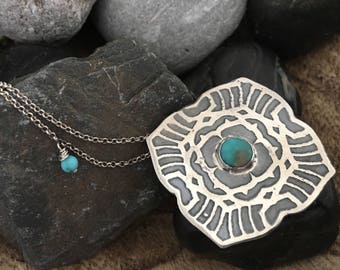 Faceted Turquoise Mandala Pendant with Mini Turquoise Drop and Tourmaline Clasp in Sterling Silver