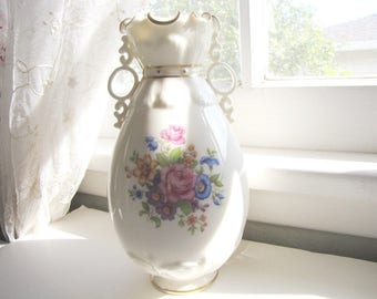 Antique Bone China Vase Lenox 1930's Flowers Two Handled Shabby Chic from AllieEtCie
