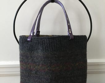 Fair Isle Felted Wool Tote Bag