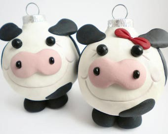 Cow Christmas Ornaments, FREE SHIPPING