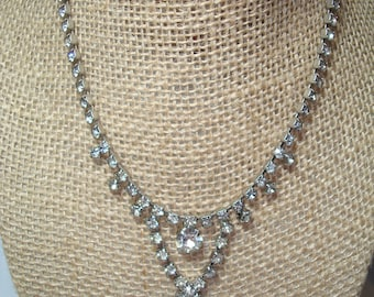 1960s Two Tiered Sparkly Rhinestone Necklace.
