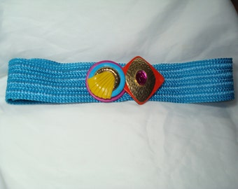 1980s WALDORF CREATIONS of Miami Florida Turquoise Woven Belt.