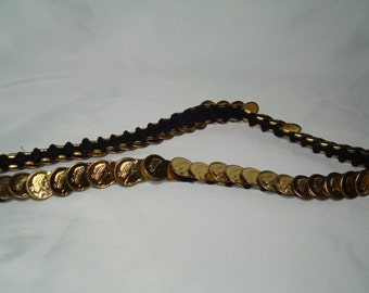 1970s Skinny Stretchy Goddess Roman Coin Metal Linked Belt.