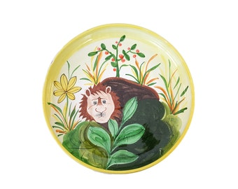 HUGE Rosenthal Netter Italian Pottery Bowl Timid Lion Mid-Century Folk Art Centerpiece or Wall Hanging