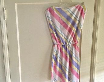 Vintage 70s striped pastel dress S - M