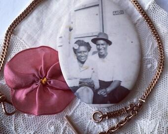Celluloid Mirror Vintage Black Americana WW2 Era Sweethearts