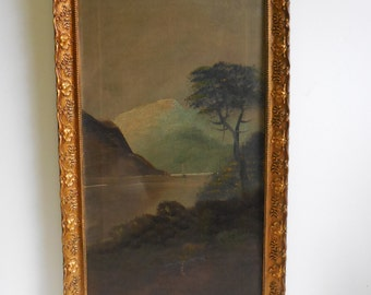 Vintage  Oil Painting on canvas mountain landscape Water boat Dark moody framed art
