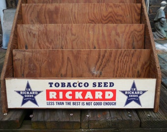 Vintage Store display rack Tobacco Seed Rickard wood stand case Advertising Sign