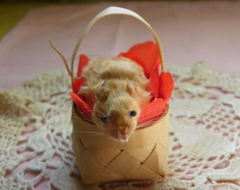 Taxidermy Mouse in a Vintage Basket with Flower Petals. Harrison.