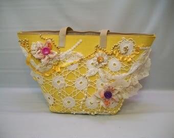 Large Tote, Handmade Felt Tote Bag, Bright Yellow Decorated Tote Bag, Recycled, Upcycled Tote Bag, Heavily Embellished Tote Bag