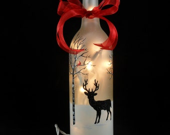 "Lighted Wine Bottle Big Buck Deer Cardinal Frosted Hand Painted 11 1/2"" H x 3"" Dia. 750ml"