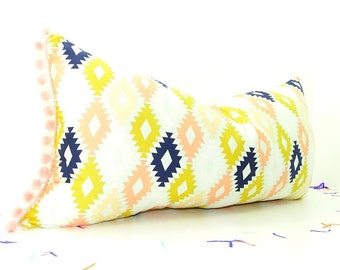 long bolster pillows, chic house decor, pink lumbar pillow cover, bohemian apartment, aztec pillow, bohemian room decor, tribal pillow