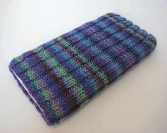 knitted wool iPhone 6 sock cosy - hand knit phone sock - one of a kind mobile phone cosy - blue purple striped smartphone sock - iphone 7