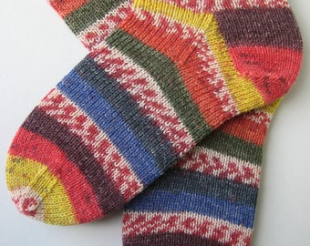 womens wool socks, UK 6-8 US 8-10, ladies hand knitted socks, red blue yellow socks, knitted fun socks, gift for women, unique womens socks