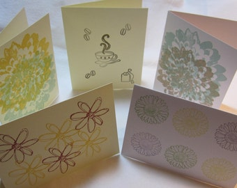Greeting Cards Assorted Set, Thank you Note, Flower Note Card, Blank Inside Note Card, Friendship Card, Thankyou's, Handmade Card C10