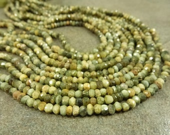 "Natural Cat's Eye Gemstone 3.5mm Hand-Cut Faceted Rondelle Beads full 13.5"" strand"