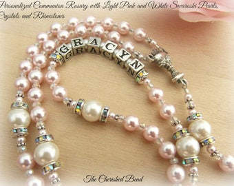 Communion Personalized Rosary with Light Pink and White Swarovski Pearls, Rhinestones and Crystals - Heirloom Quality