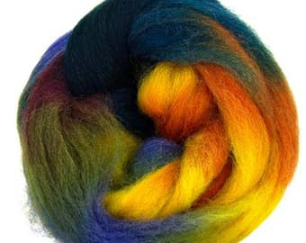 "Space Dyed Wool for Spinning or Felting ""Neptune""  100 Grams"