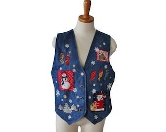 sale // Vtg 90s Denim Snowman Santa Snowflake Vest - Women M - Busy, , ugly Christmas - Karen Scott