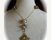 Pre Holiday sale Neo-Victorian Vintage Damascene Assemblage Pendant Necklace, Repurposed Brooch and Pendant, Black and Gold