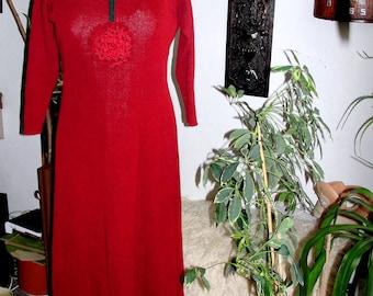 Handmade, long burgundy coloured, cotton dress, M-L size.