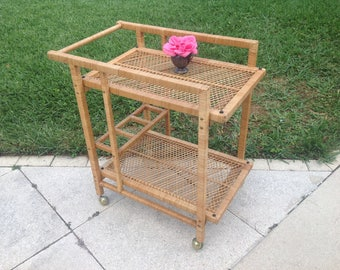 RATTAN BAR CART / Natural Rattan Bar Cart / Rattan Cart  Hollywood Regency / Cottage Beach House / Crespi Style at Retro Daisy Girl