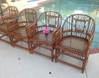 Sold BAMBOO BRIGHTON Chairs / Set of 4 Chinese Chippendale Rattan Chairs Cane Seats Chinoiserie Pavillion style Chairs at Retro Daisy Girl