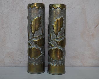 Pair of WWI Tall Trench Art Vases - French Cartridge or Shell Case - 1915