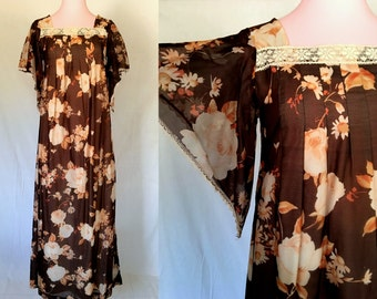 1960s 1970s Pennys Hawaii Floral Dress -  One Size Fits Most - Retro Dress