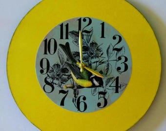 Wall clock. Bird on a clock. Large wall clock. Vinyl clock. Modern clock.