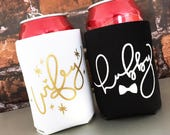Custom Bride Groom Can Cooler Set Wifey Hubby Personalized Custom Honeymoon Can Cooler Set Mr Mrs Can Cooler Set Engagement Wedding Gift