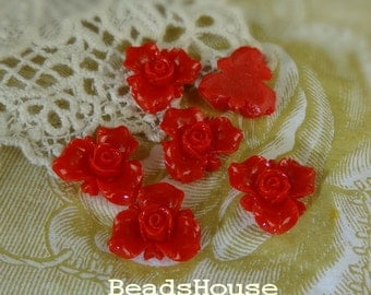 6pcs (15mm) Beautiful Flower Cabochon - Red