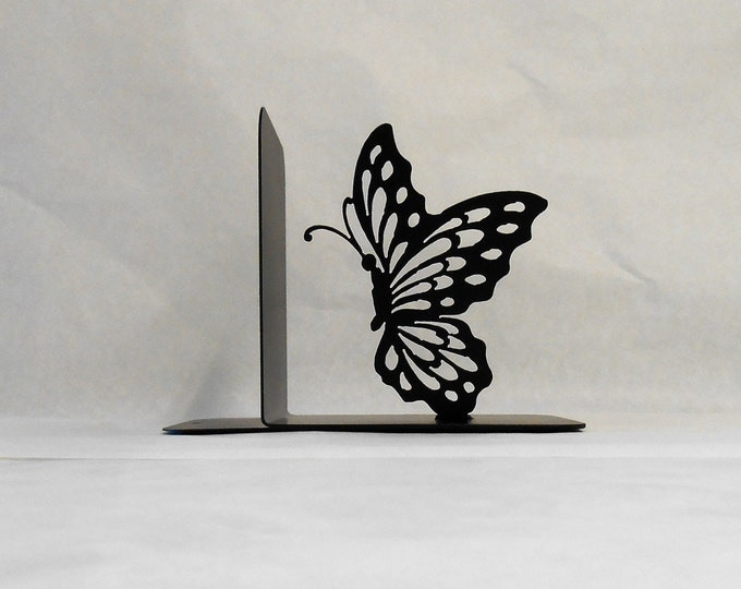 Butterfly Silhouette Single Metal Art Bookend Right Side