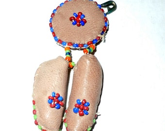 Vintage Leather beaded southwestern native american moccassin pin