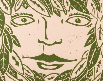 The Green Woman block print