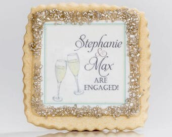 Engagement party favors custom wedding cookie favors champagne