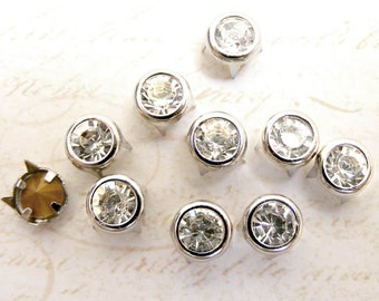 7mm 4 prongs CZECH Clear Glass Rhinestone Crystal studs nailhead spikes