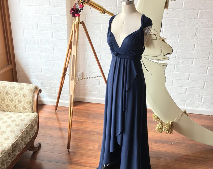 Aegean Sea Tardis Navy Blue TULIP HEM CUT Infinity Wrap Gown- Converts to Strapless, Backless, Grecian~ All Sizes