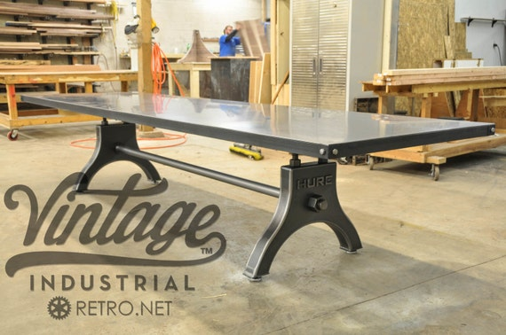 Vintage Industrial HURE Conference Table / Antique