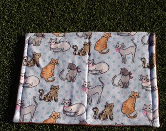Cat Blanket - cats on blue polka dot background