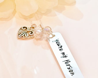 """Hand stamped """"You're my person"""" sterling silver necklace-friendship necklace-sister necklace-mom necklace"""
