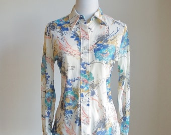 Vintage 70s Button Down Blouse, Long Sleeve Shirt, Pointed Collar Shirt, Watercolor Print, Multicolor Secretary Blouse, Judy Bond, Medium