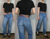 Levis 501xx Shrink to Fit Distressed Jeans 27 Waist / Levis 501 xx Frayed Hem Jeans / Levis Distressed Blue Jeans 27x27