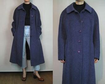 Oversized Dusty Violet Mohair Coat / Minimalist Wool Coat / Purple Mohair Coat
