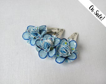 Three little forget-me-not hair snap pins - hair snap clips - hair pins - ***Item on sale*** Previous price : 25 EUR