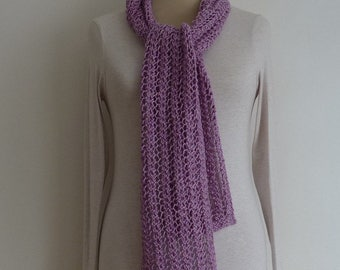 COTTON  and SILK scarf. Lightweight . Skinny .Neck tie.' Lavender Fields ' . ( other colours available ) UK seller .... Ready to ship...