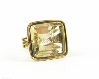 SALE. Victorian 15ct Fob, Engraved Mary Citrine Seal in Striking Ridged Design. Circa 1800s.