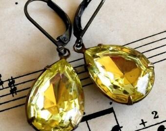 On Sale Lemon Zest, Estate Style Jonquil Yellow Teardrop Rhinestone Earrings
