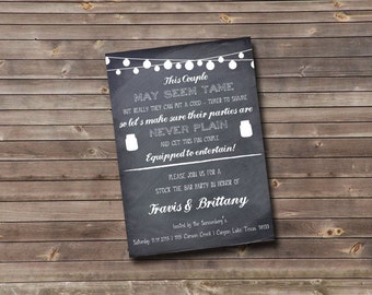 chalkboard mason jar stock the bar custom printable invitation