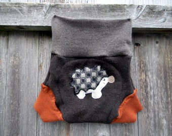 Upcycled  Merino Wool Soaker Cover Diaper Cover With Added Doubler Brown/ Orange With Hedgehog Applique LARGE 12-24M Kidsgogreen
